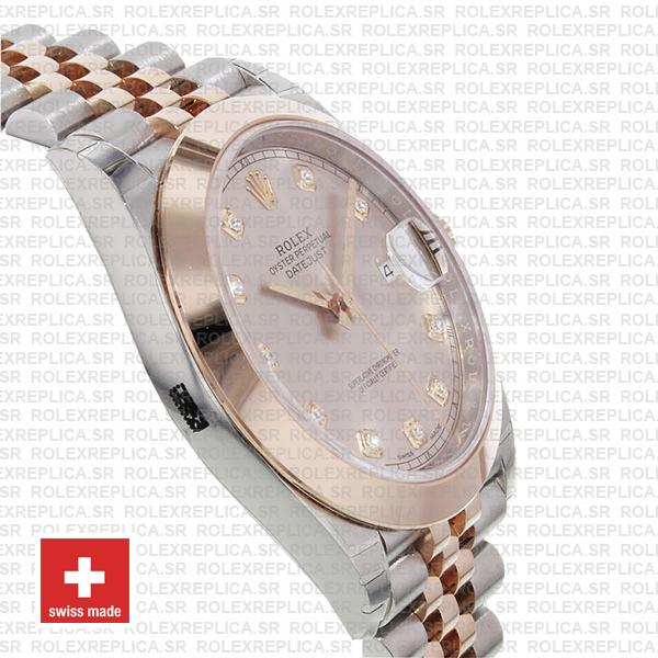 Rolex Datejust Two-Tone 18k Rose Gold 904L Stainless Steel Smooth Bezel Pink Dial