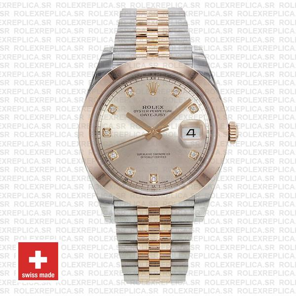 Rolex Datejust Two-Tone 18k Rose Gold 904L Stainless Steel