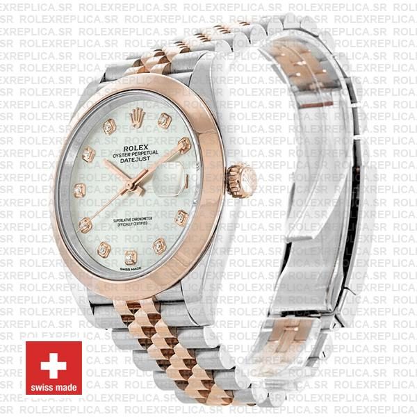Rolex Datejust Two-Tone 18k Rose Gold, Smooth Bezel White Mother of Pearl Diamond Dial Stainless Steel 41mm