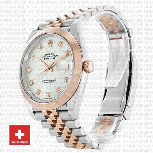 Rolex Datejust 41 Jubilee 2 Tone 18k Rose Gold Smooth Bezel White Mop Dial Diamond Markers 126301 Swiss Replica