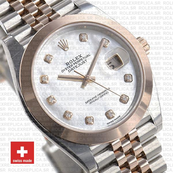 Rolex Datejust Two-Tone 18k Rose Gold, Smooth Bezel White Mother of Pearl Diamond Dial
