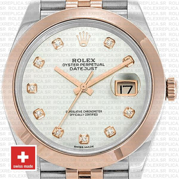 Rolex Datejust 41 Jubilee 2 Tone 18k Rose Gold Smooth Bezel White Mop Dial Diamond Markers 126301 Swiss Replica
