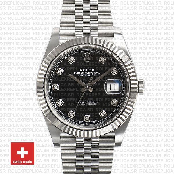 Rolex Datejust 41 Black Diamond Dial Jubilee Replica