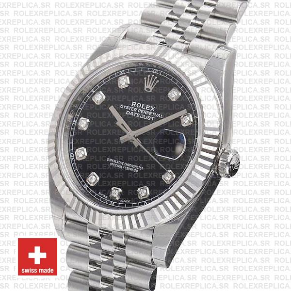 Rolex Datejust 41 Black Diamond Dial Jubilee Replica Watch