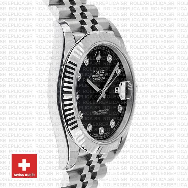 Rolex Datejust 41 Black Diamond Dial Jubilee Rolex Replica Watch