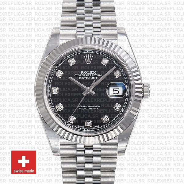 Rolex Datejust 41 Black Diamond Dial Jubilee | Rolex Replica