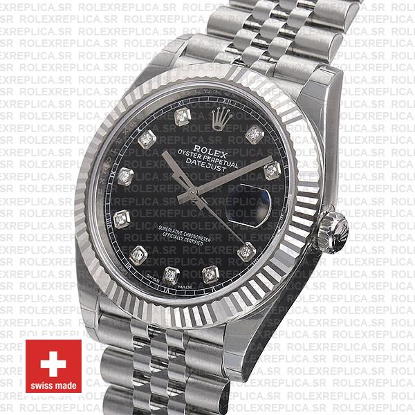 Rolex Datejust 904L Steel Black Diamond Dial 18k White Gold Fluted Bezel 41mm Watch