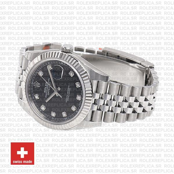 Rolex Datejust 904L Steel Black Diamond Dial 18k White Gold Fluted Bezel 41mm Replica Watch