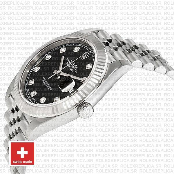 Rolex Datejust 904L Steel Black Diamond Dial 18k White Gold Fluted Bezel 41mm Replica