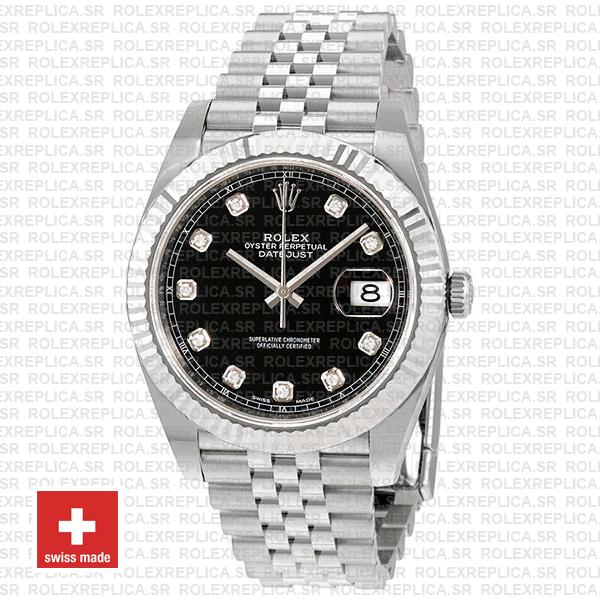 Rolex Datejust 904L Steel Black Diamond Dial 18k White Gold Fluted Bezel 41mm