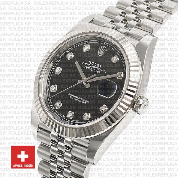 Rolex Datejust 904L Steel Black Diamond Dial 18k White Gold Fluted Bezel
