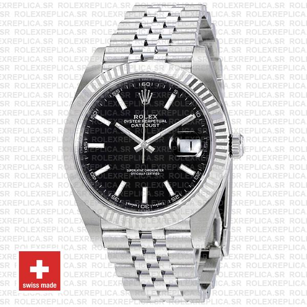 Rolex Datejust 41 Black Dial Stainless Steel Jubilee Replica
