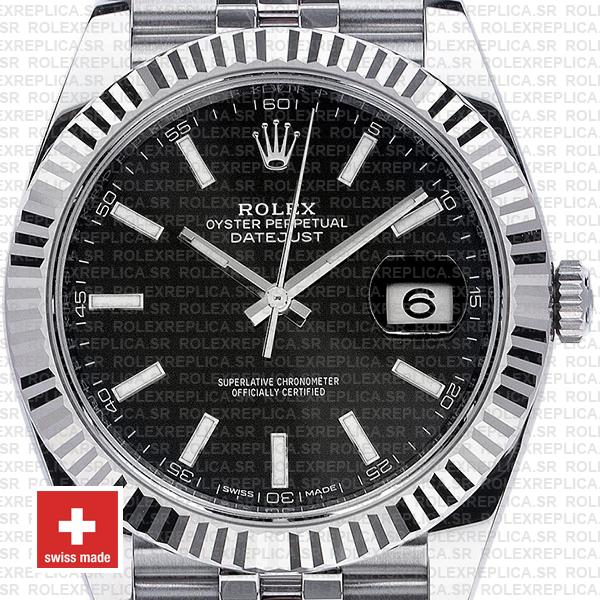 Rolex Datejust 41 Black Dial Stainless Steel Jubilee Swiss Replica