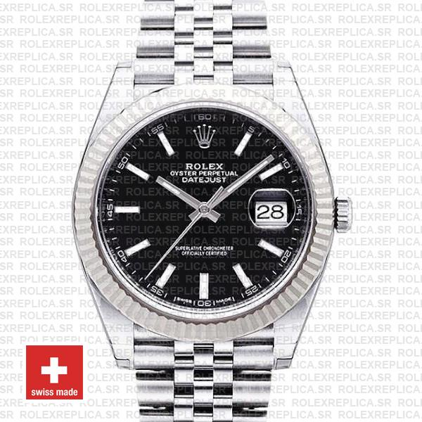Rolex Datejust 41 Jubilee 2 Tone 18k White Gold Fluted Bezel Black Dial Stick Markers 126334 Swiss Replica