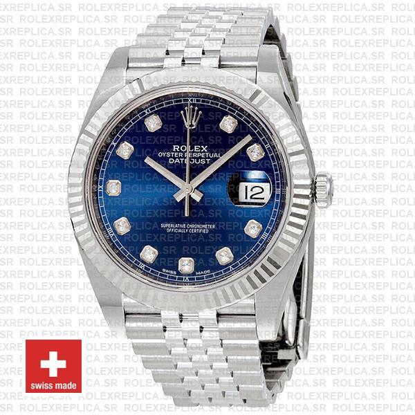 Rolex Datejust 18k White Gold, 904L Steel Blue Diamond Dial Fluted Bezel 41mm
