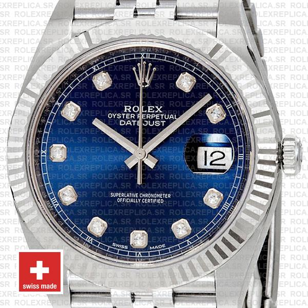 Rolex Datejust 18k White Gold, 904L Steel Blue Diamond Dial Fluted Bezel