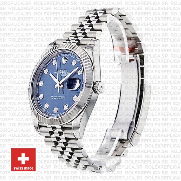 Rolex Datejust 41 Blue Diamond Dial Jubilee Fluted Bezel