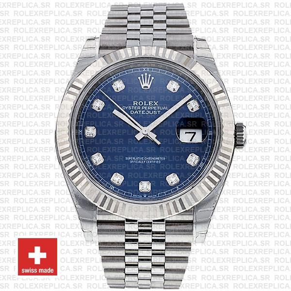 Rolex Datejust 41 Blue Diamond Dial Jubilee Fluted Bezel Replica