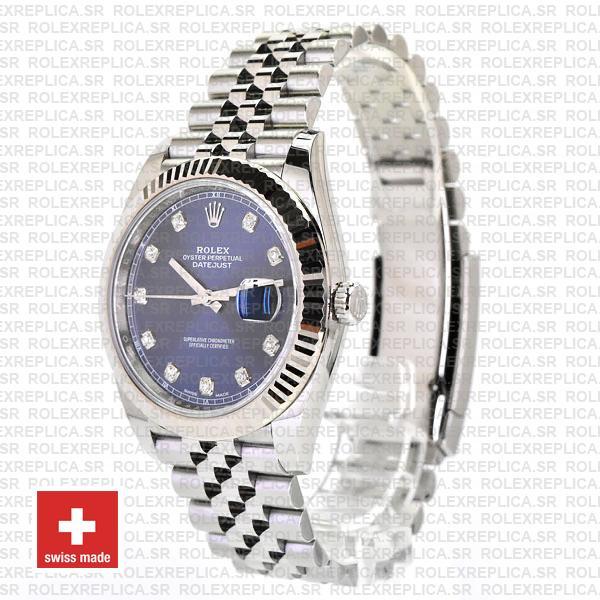 Rolex Datejust 41 Blue Diamond Dial Jubilee Fluted Bezel Swiss Replica