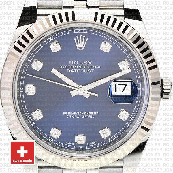 Rolex Datejust 41 Blue Diamond Dial Jubilee Fluted Bezel Swiss Replica Watch