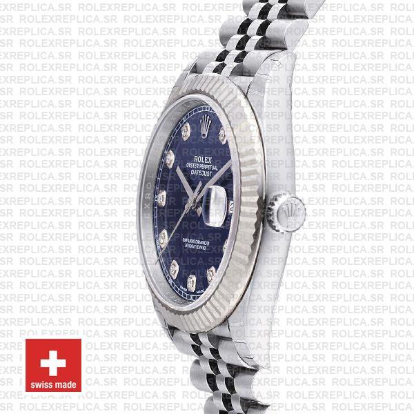 Rolex Datejust 41 Blue Diamond Dial Jubilee Fluted Bezel Replica Watch