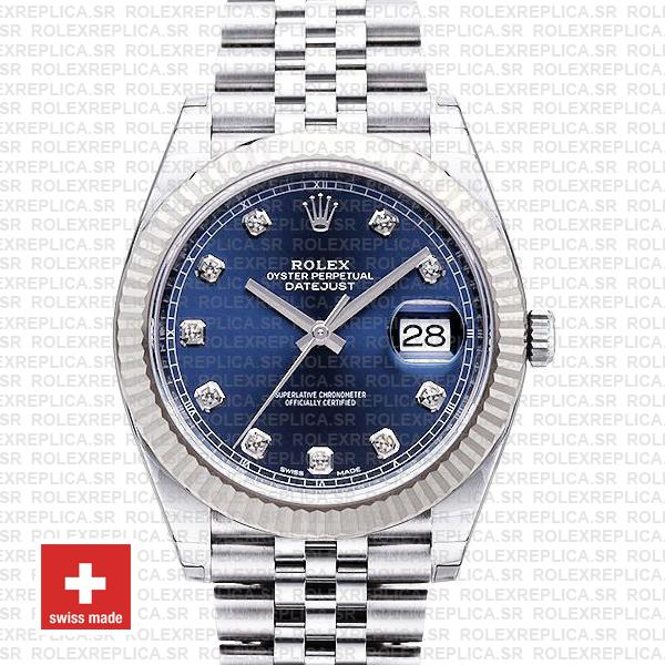 Rolex Datejust 41 Jubilee 2 Tone 18k White Gold Fluted Bezel Blue Dial Diamond Markers 126334 Swiss Replica