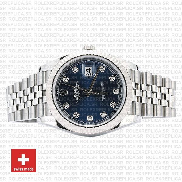 Rolex Datejust 18k White Gold, 904L Steel Blue Diamond Dial Fluted Bezel 41mm Jubilee Bracelet Replica Watch