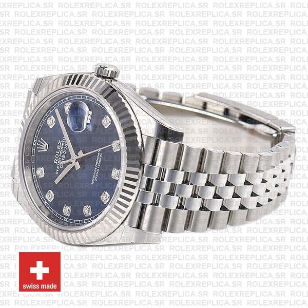 Rolex Datejust 18k White Gold, 904L Steel Blue Diamond Dial Fluted Bezel 41mm Jubilee Bracelet Watch