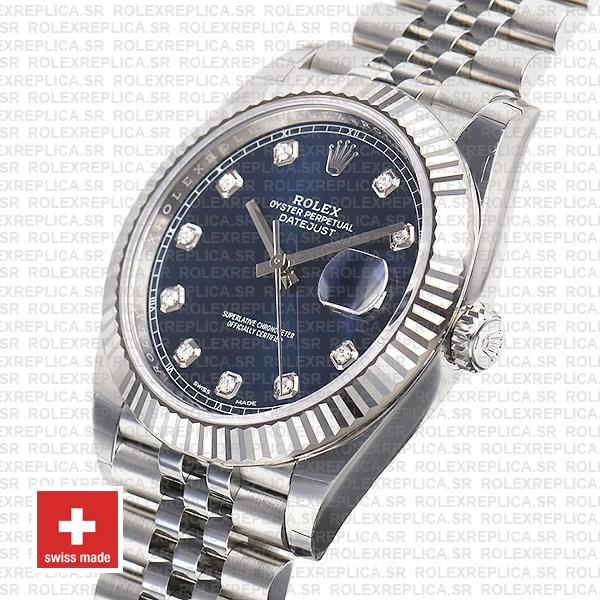 Rolex Datejust 18k White Gold, 904L Steel Blue Diamond Dial Fluted Bezel 41mm Jubilee Bracelet