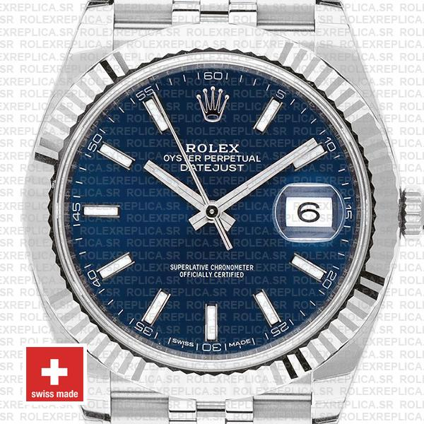 Rolex Datejust 41 Jubilee 2 Tone 18k White Gold Fluted Bezel Blue Dial Stick Markers 126334 Swiss Replica