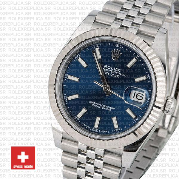 Rolex Datejust 41 Jubilee Bracelet 904L Stainless Steel Blue Sticks Dial 18k White Gold Fluted Bezel Replica Watch