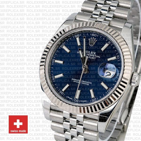 Rolex Datejust 41 Jubilee Bracelet 904L Stainless Steel Blue Sticks Dial 18k White Gold Fluted Bezel Watch