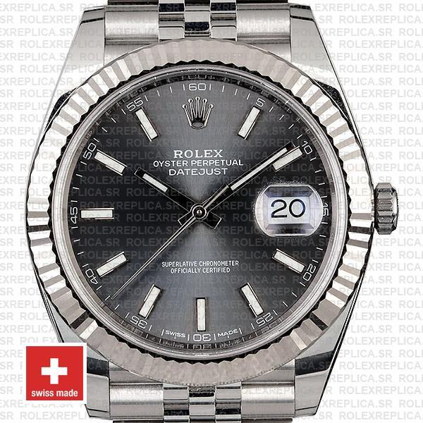 Rolex Datejust 41 Jubilee Bracelet 904L Stainless Steel Dark Rhodium Grey Sticks Dial 18k White Gold Fluted Bezel Watch