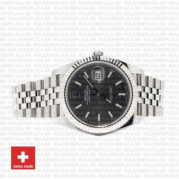 Rolex Datejust 41 Jubilee Bracelet 904L Stainless Steel Dark Rhodium Grey Sticks Dial 18k White Gold Fluted Bezel