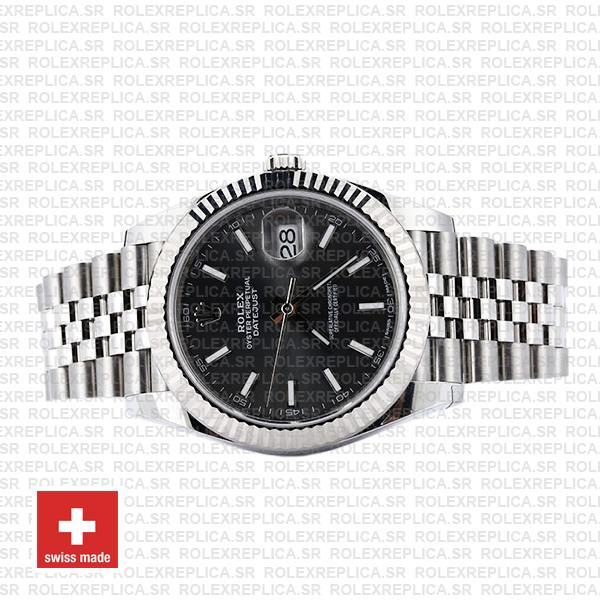 Rolex Datejust 41 Jubilee Bracelet 904L Stainless Steel Dark Rhodium Grey Sticks Dial