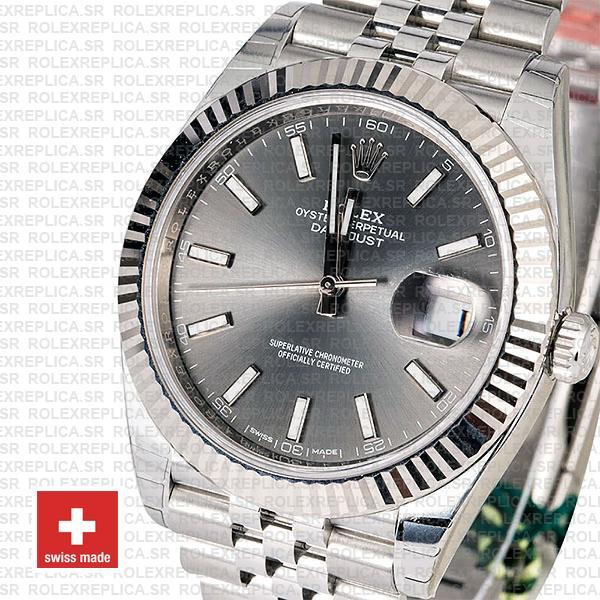 Rolex Datejust 41mm Grey Dial Steel Jubilee Bracelet