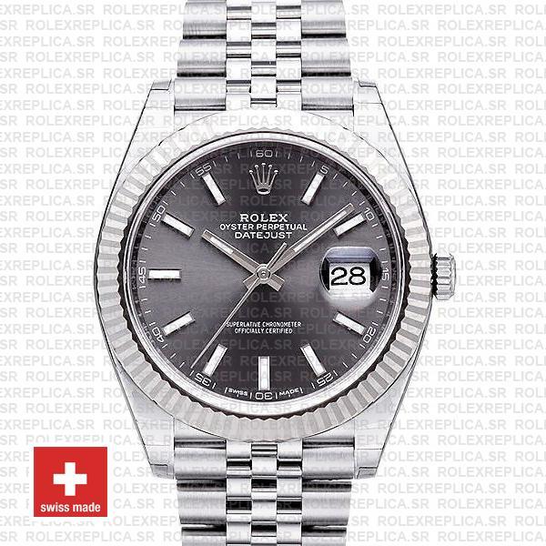 Rolex Datejust 41mm Grey Dial Steel Jubilee Replica Watch