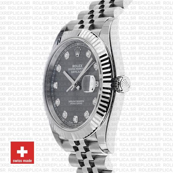 Rolex Datejust 41mm Grey Diamond Dial Jubilee Rolex Replica