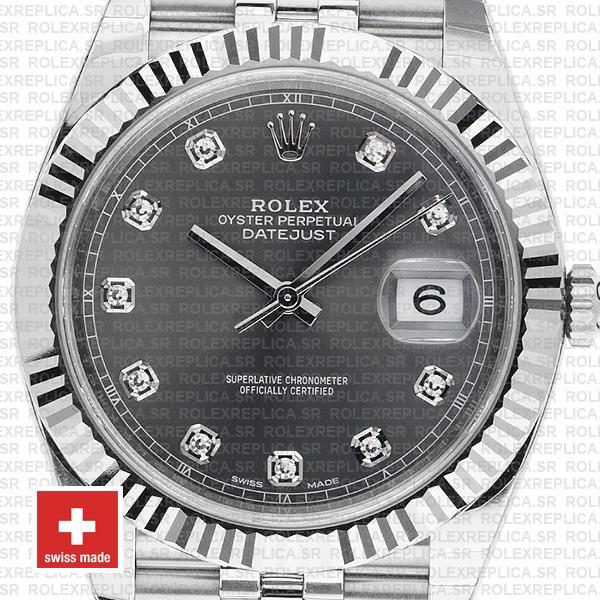 Rolex Datejust 41mm Grey Diamond Dial Jubilee Replica