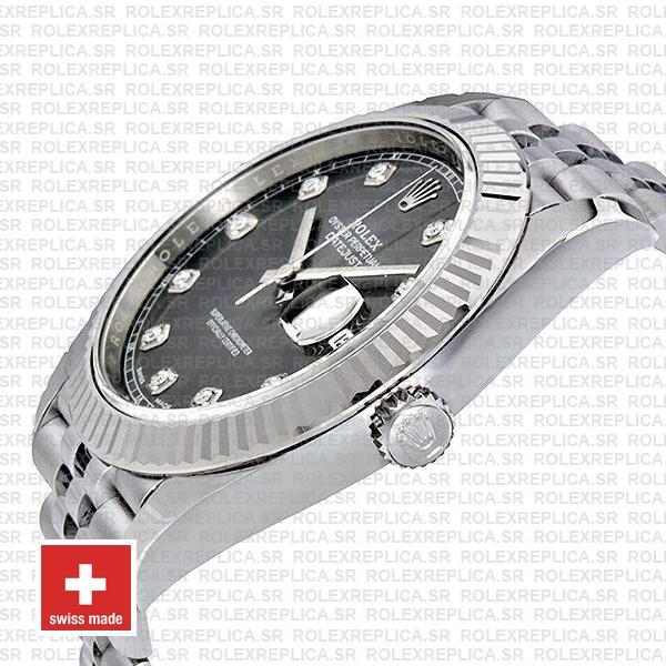 Rolex Datejust 41 Jubilee Bracelet 904L Stainless Steel Dark Rhodium Grey Diamond Dial Replica