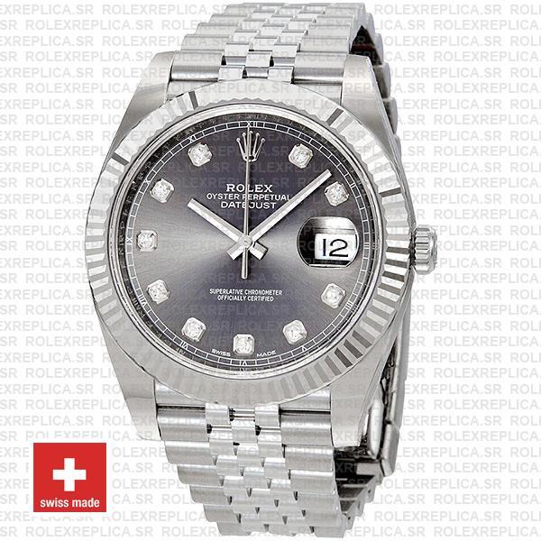 Rolex Datejust 41 Jubilee Bracelet 904L Stainless Steel Dark Rhodium Grey Diamond Dial