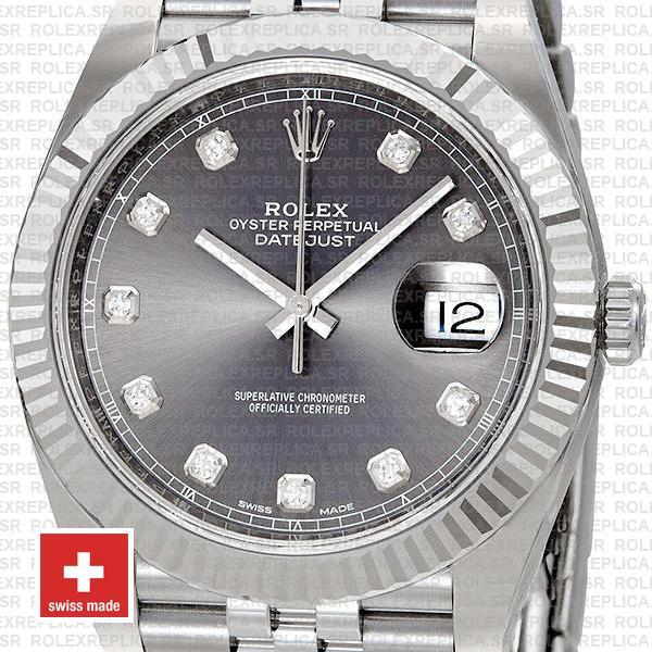 Rolex Datejust 41 Jubilee Bracelet 904L Stainless Steel Dark Rhodium