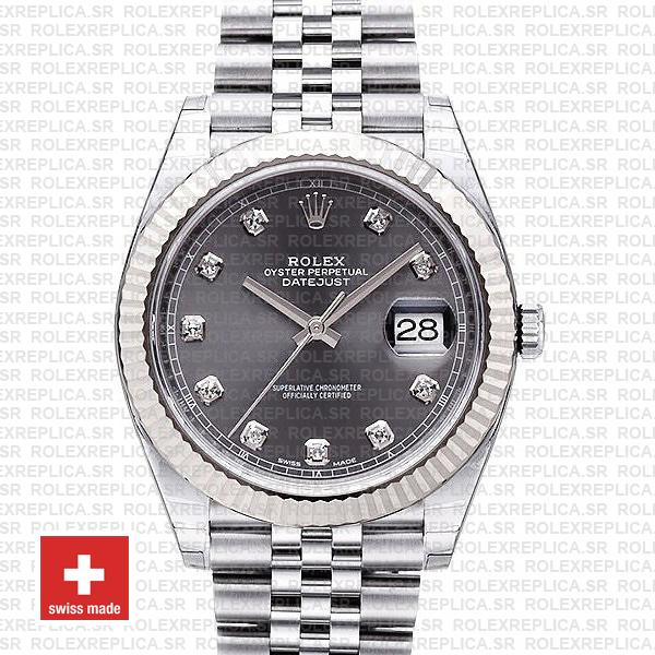 Rolex Datejust 41 Jubilee 2 Tone 18k White Gold Fluted Bezel Rhodium Grey Dial Diamond Markers 126334 Swiss Replica