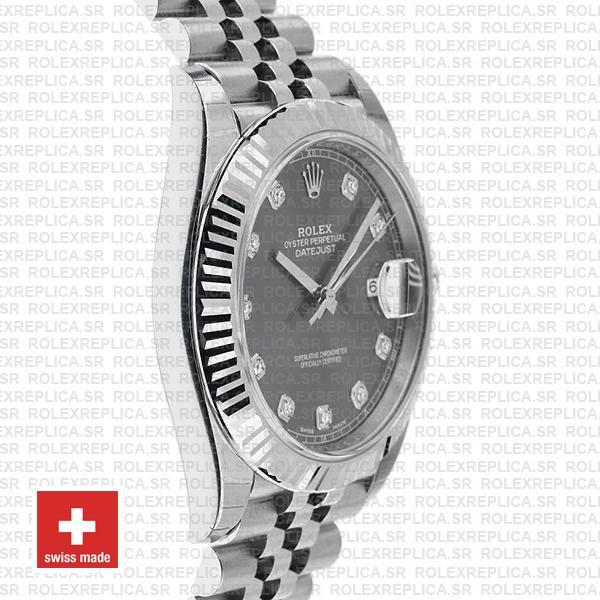 Rolex Datejust 41mm Grey Diamond Dial Jubilee Rolex Replica Watch
