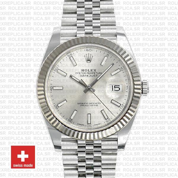 Rolex Datejust 41 Silver Dial Jubilee Fluted Bezel Replica
