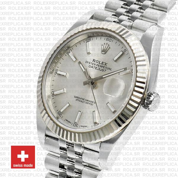 Rolex Datejust 41 Silver Dial Jubilee Fluted Bezel Swiss Replica