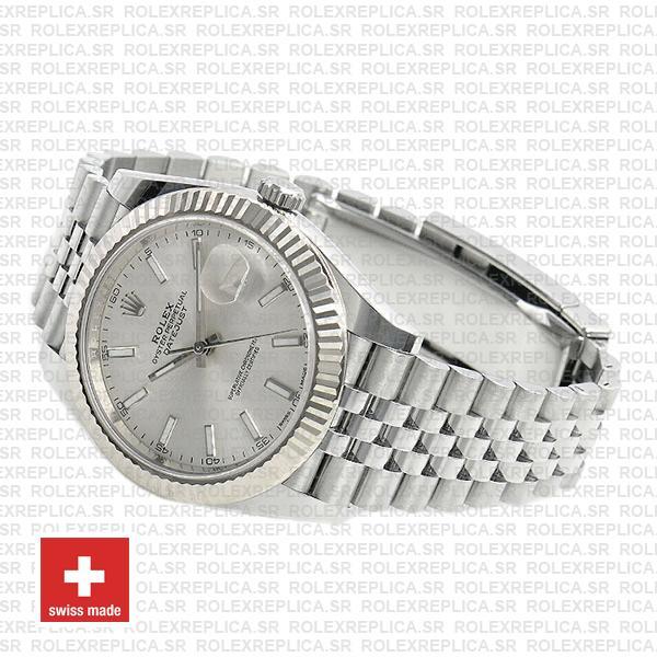 Rolex Datejust 41 Silver Dial Jubilee Fluted Bezel Swiss Replica Watch