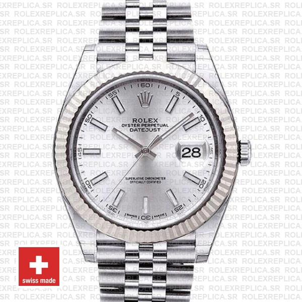 Rolex Datejust 41 Silver Dial Jubilee Fluted Bezel Replica Watch