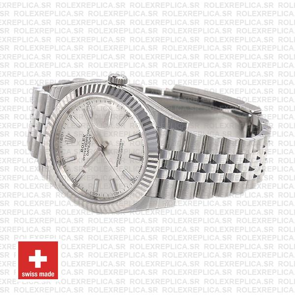 Rolex Datejust 904L Stainless Steel Silver Dial Stick Markers 18k White Gold Fluted Bezel with Jubilee Bracelet Watch