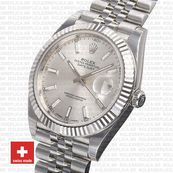 Rolex Datejust 904L Stainless Steel Silver Dial Stick Markers 18k White Gold Fluted Bezel with Jubilee Bracelet